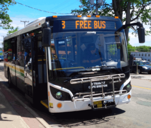 "CBRM Transit bus displaying ""Free Bus"" sign"
