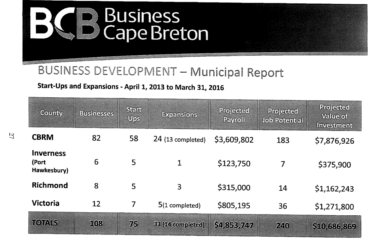 Business Cape Breton Municipal Report 2013-2016