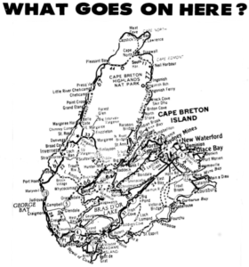 Cape Breton Island Map with text: What goes on here?