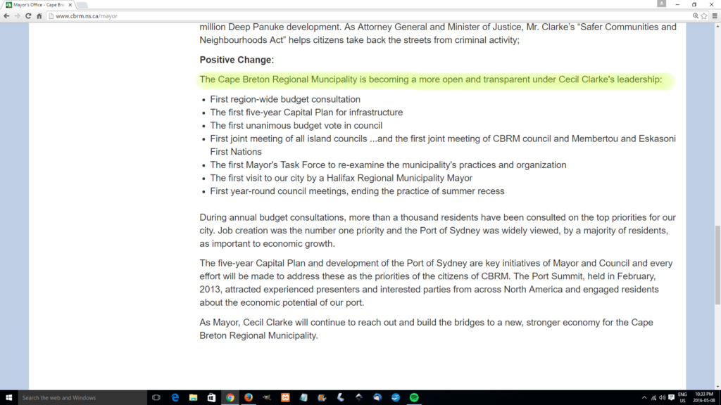 Screen capture from Mayor Clarke's message re: Transparency on CBRM web site