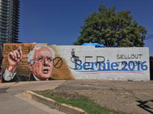 Defaced Bernie Sanders mural, Denver, Colorado