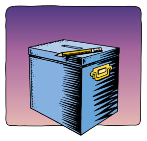 Drawing of a ballot box