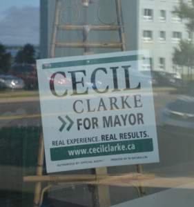 Cecil Clarke for Mayor sign