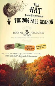 Fall Season poster Highland Arts Theatre 2016