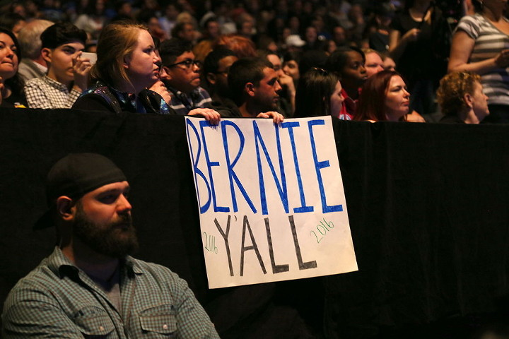 Sign at Bernie Sanders rally, Grand Prairie, TX.