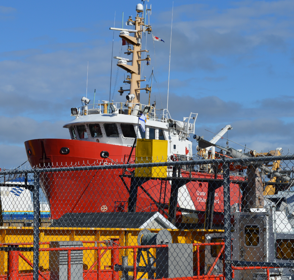 Coast Guard Vessel under repair at CME shipyard, North Sydney.