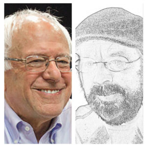 Bernie Sanders (l), Dr. StrangeJob (r).