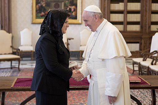 Pope Francis breaks the news to Beata Szydło that she may be the Polish PM but will never be a priest.