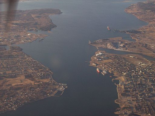 Sydney, N.S. harbor, aerial view
