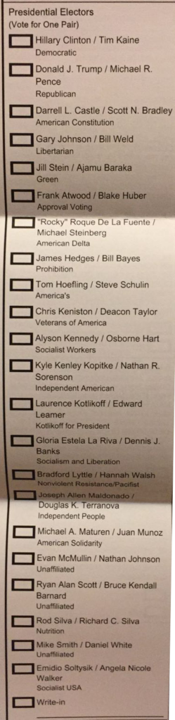Presidential candidates on (unmarked!) US ballot.