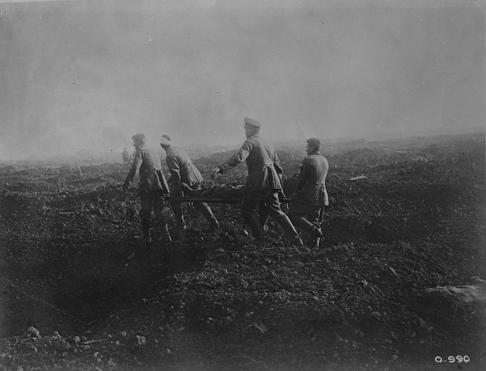 German prisoners carrying stretchers. Battle of the Somme, November 1916.