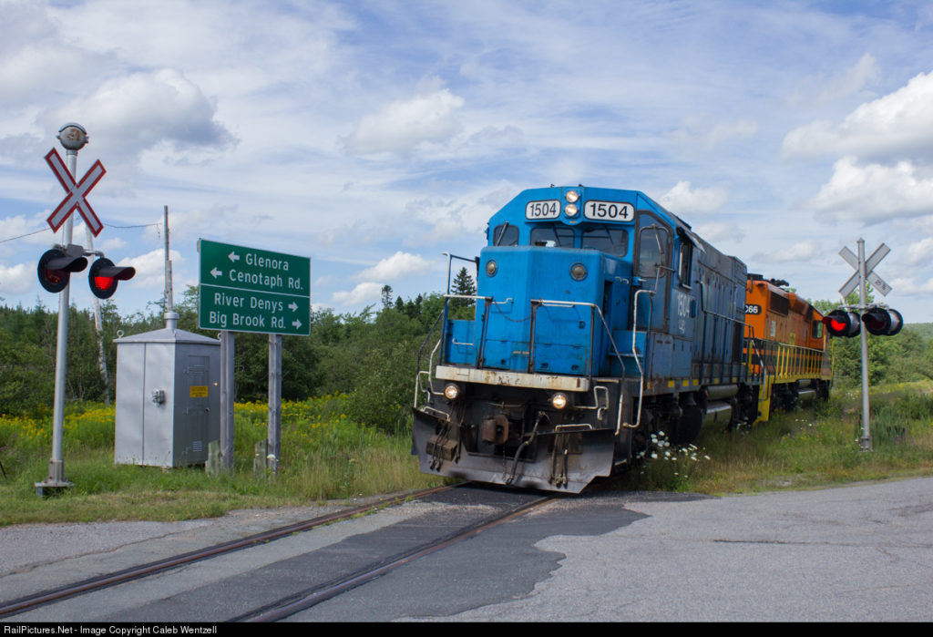 Final two locomotives on Sydney Subdivision of CBNS Railway near West Bay Road (Photo by Caleb Wentzell.)