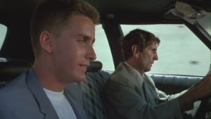 Still from movie repo man, Emilio Esteves and Harry Dean Stanton
