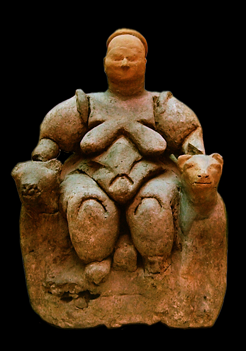 """Seated Mother Goddess flanked by two lionesses from Çatalhöyük (Turkey), Neolithic age (about 6000-5500 BCE), today in Museum of Anatolian Civilizations in Ankara By User:Roweromaniak (Archiwum """"Roweromaniaka wielkopolskiego"""" No_B19-36) [CC BY-SA 2.5 (http://creativecommons.org/licenses/by-sa/2.5)], via Wikimedia Commons"""