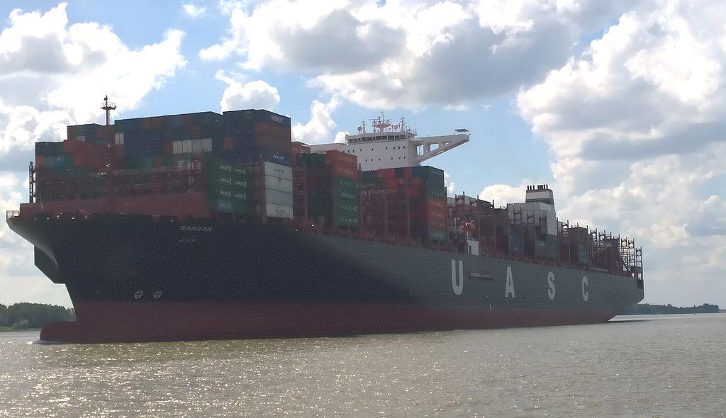 Container ship Barzan on maiden voyage to Hamburg.