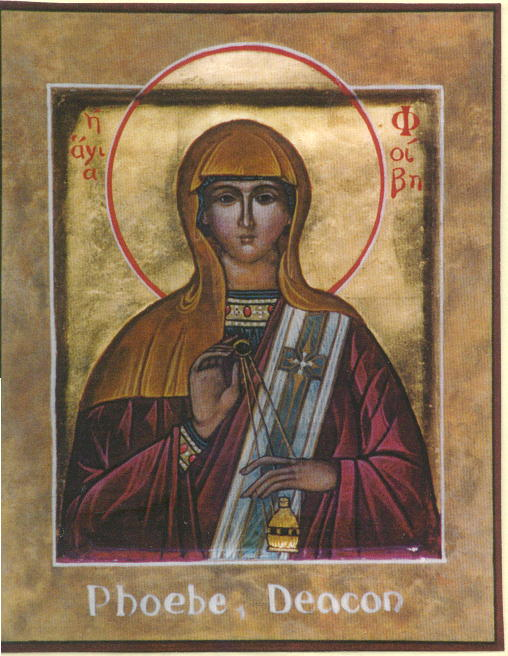 Phoebe, who may have been a deacon in of the church at Cenchreae, in Corinth (Source: https://forallsaints.wordpress.com/2011/01/29/lydia-dorcas-and-phoebe-witnesses-to-the-faith/)