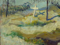 "Painting by Mary Riter Hamilton, (cropped), ""Isolated Grave and Camouflage, Vimy Ridge,"" May 20, 1919 (Source: Library and Archives Canada, CC by 2.0 https://creativecommons.org/licenses/by/2.0/)"