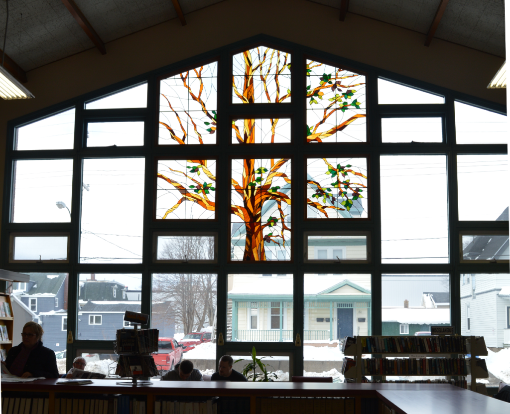Tree of Life stained glass window, McConnell Library, Sydney, NS