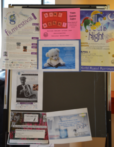 Bulletin board, McConnell Library, Sydney N.S. (Spectator photo)