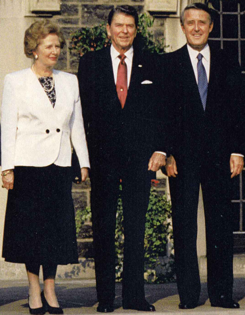 Margaret Thatcher, Ronald Reagan, Brian Mulroney, 14th G7 Summit, 1988. (By Courtesy Ronald Reagan Presidential Library [Public domain], via Wikimedia Commons)