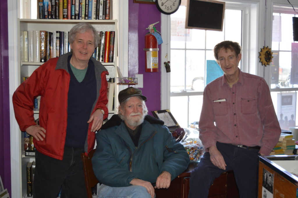 Three steelworkers walk into a bookstore: Ken Jessome, Mike MacNeil, Ed Gillis (Photo by Catherine Campbell)
