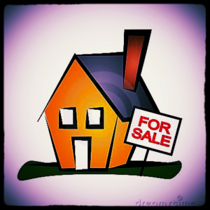 Clip Art House with For Sale Sign,