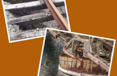 Photos of damage to CBNS rail line courtesy of CB Railway Victims Association