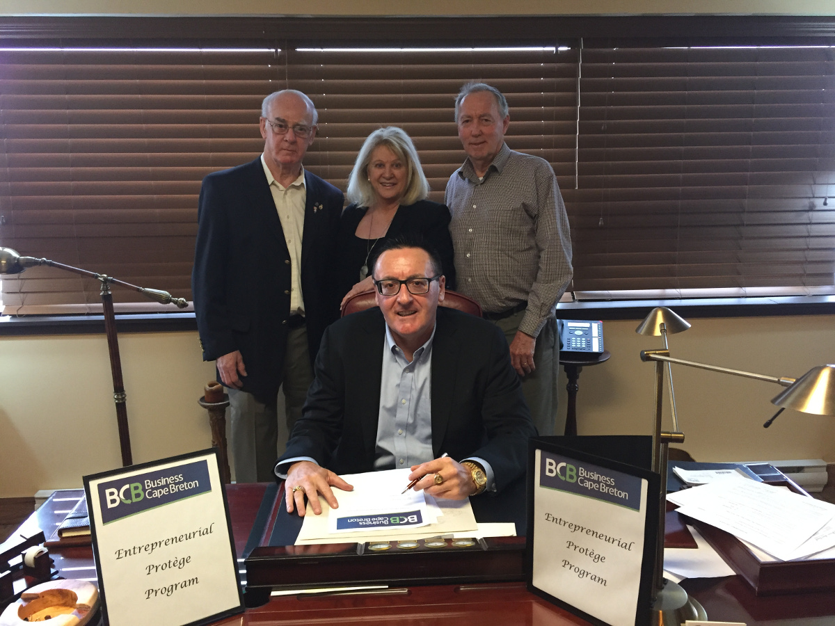 Front row: Parker Rudderham, Chair BCB Second row (left-right): Cecil Saccary Vice-Chair BCB, Eileen Lannon Oldford, CEO BCB and Jim Kehoe Board Member BCB