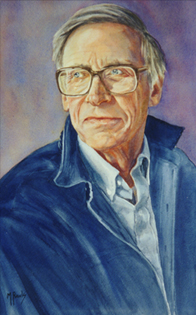 Watercolor portrait of John Rawls by Mardy Rawls