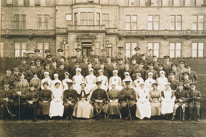 Craiglockhart War Hospital (old Hydropathic Hotel) photographs of Staff and patients taken on the 26th March 1917 by J.C. Bambuck Hanover Street Edinburgh. Attempts have been made to contact the photographer but to no avail. The original prints are held as part of the war poets collection This Photograph was gifted by Joyce Macpherson daughter of Nurse Grace Barnet whose photograph was gifted at the same time. Mrs Macpherson is generally contacted when the photographs are being used as a matter of courtesy. Her contact details will be posted below. Dr Rivers is in the photograph and is sitting front row 6th from left (with moustache) These details were posted 13th April 2005 information supplied by Catherine Walker Campus Library Manager, Craighouse Library
