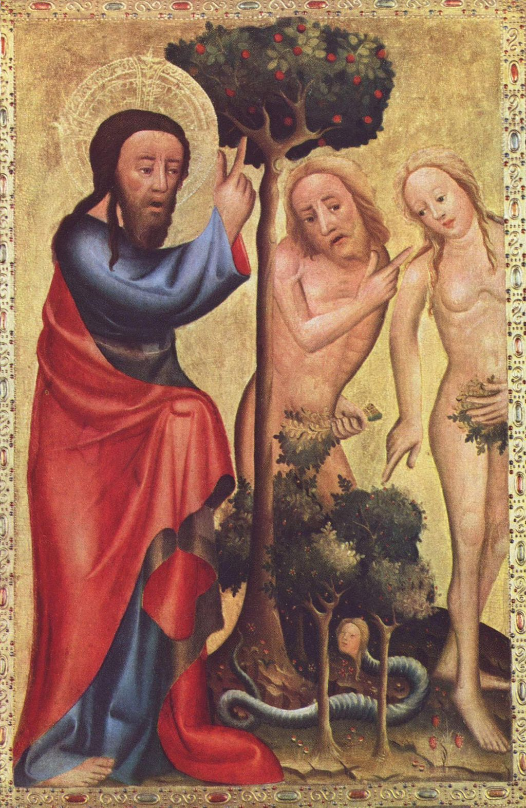 God (in the form of Jesus) chides Adam and Eve for eating the forbidden fruit. (Master Bertram, Public Domain, via Wikimedia Commons)