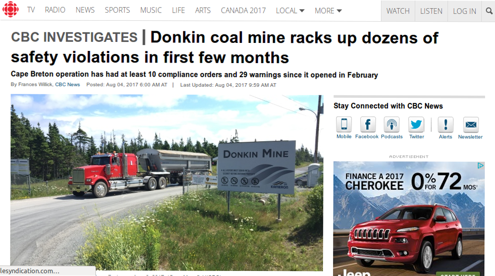 CB Post Downplays Donkin Safety Issues - The Cape Breton Spectator