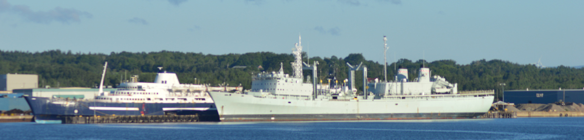 MV Princess of Acadia and the former naval auxiliary oiler replenishment vessel HMCS Preserver at the docks in Sydport. (Spectator photo)