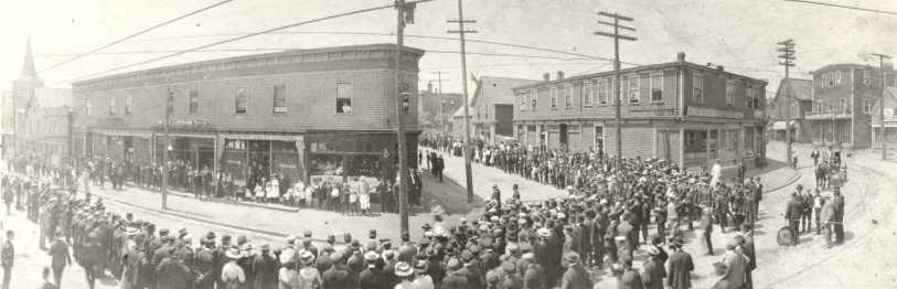 Senators' Corner, Glace Bay, NS, 1906. (Source: Beaton Institute Digital Archives https://beatoninstitute.com/)