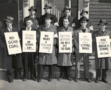 Striking miners, Glace Bay, NS, circa 1945. (Source: Beaton Institute https://beatoninstitute.com/dominion-13)