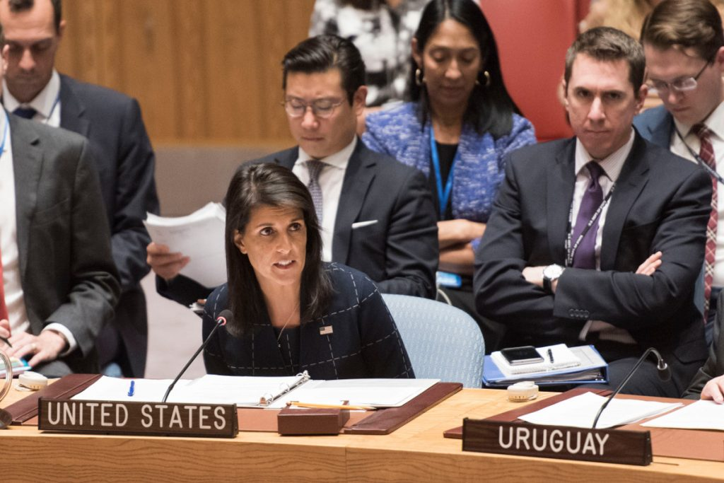 Nikki Haley, Permanent Representative of the United States to the UN, delivers remarks.