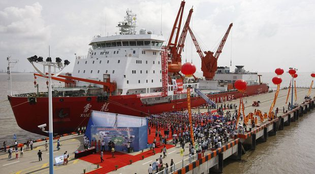 The Chinese icebreaker Xuelong (Snow Dragon), in Shanghai after an 85-day scientific quest across the Arctic ocean. (Source: Xinhua News Agency)
