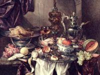 Still life with fruit, roast, silver and glassware, porcelain and columbine cup, Abraham Hendriksz van Beyeren