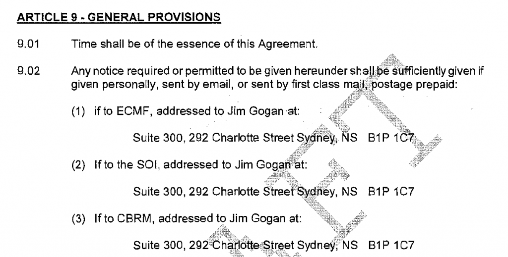 Contact information from contract between East Coast Metal Fabrication, Sydport Operations and the CBRM.