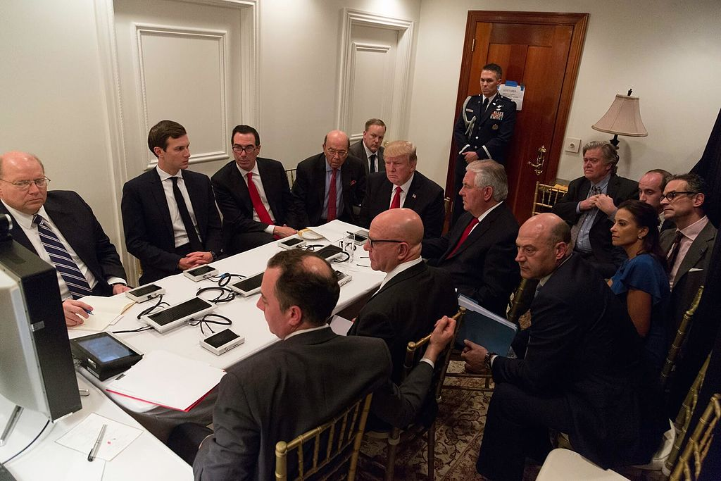 US President Donald Trump being briefed on military strike in Syria. (Photo by Shealah Craighead, Public Domain, via Wikimedia Commons)