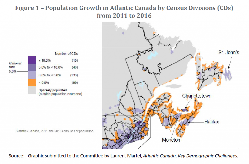 Figure 1 - Population Growth in Atlantic Canada by Census Divisions (CDs) from 2011 to 2016