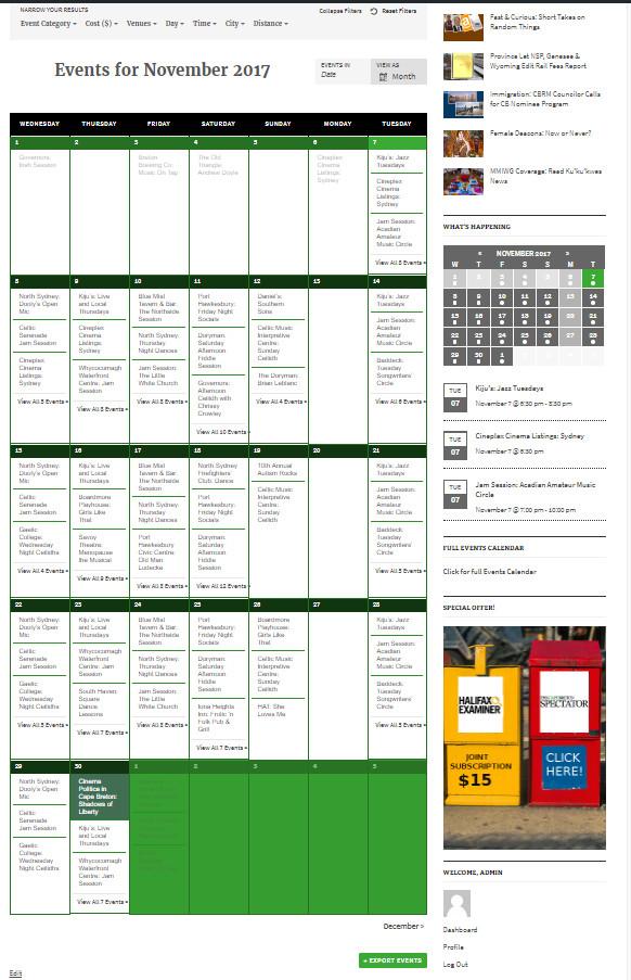 Introducing: The Cape Breton Spectator (Cultural) Events Calendar