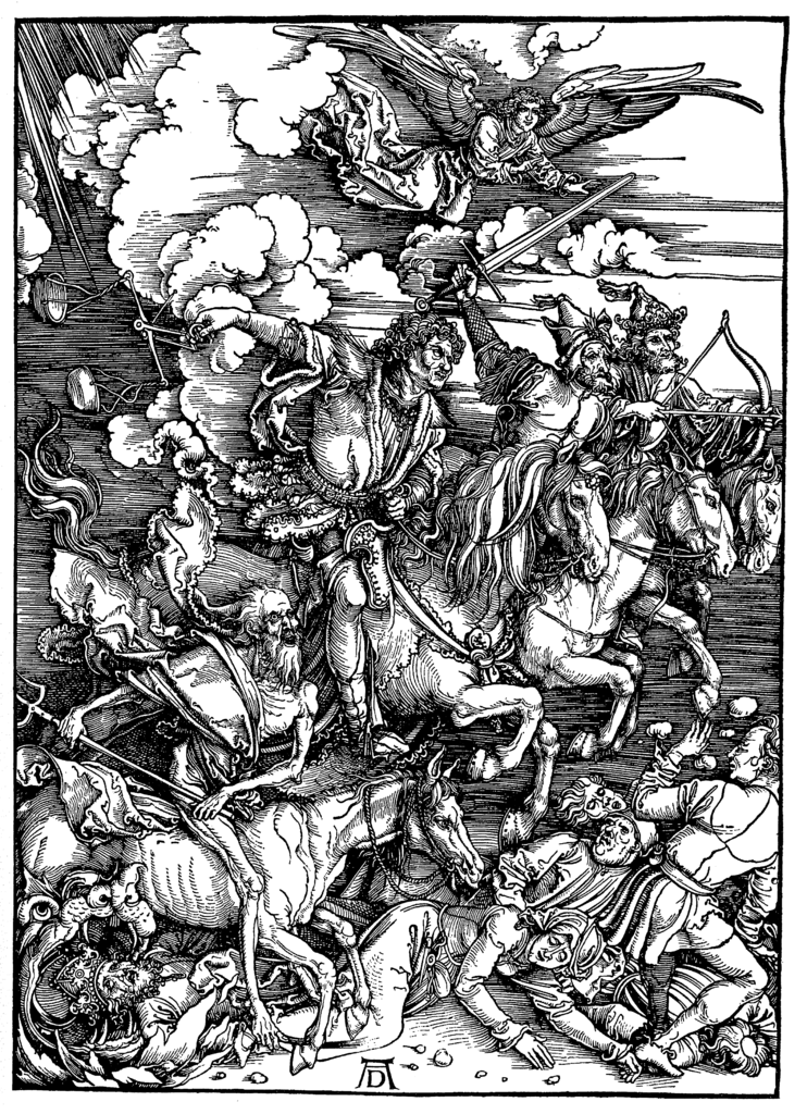 Four Horsemen of the Apocalypse. Albrecht Dürer, Public Domain, via Wikimedia Commons.