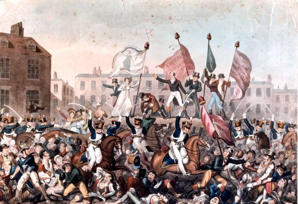 Peterloo Massacre. Painting by Richard Carlile (1790–1843) Manchester Library Services, Public Domain, via Wikimedia Commons