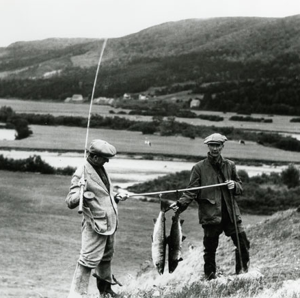 Mr. D. Buckley and another sports fisherman, salmon fishing the Margaree River, N.S., W.R. MacAskill, photographer, ca. 1927; NSA, W.R. MacAskill fonds, 1987-453 no. 3622 (scan 200311368)