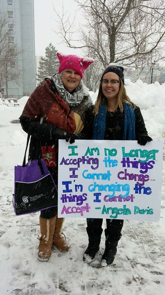 Helen Morrison, executive director of Cape Breton Transition House and Emily MacArthur, outreach/navigator at Willow House Community Outreach Sexual Assault Program at the 2018 Women's March. Photo taken by Wanda Earhart.