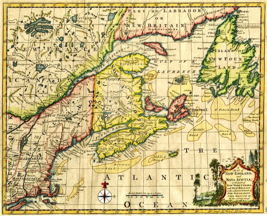 1758 Map of New England and Nova Scotia showing Newfoundland and Cape Breton Island situated in the Gulf of St. Lawrence. The map includes identified fishing banks. By the mapmaker Thomas Kitchin (Beaton Institute https://beatoninstitute.com/map-of-new-england-and-nova-scotia)
