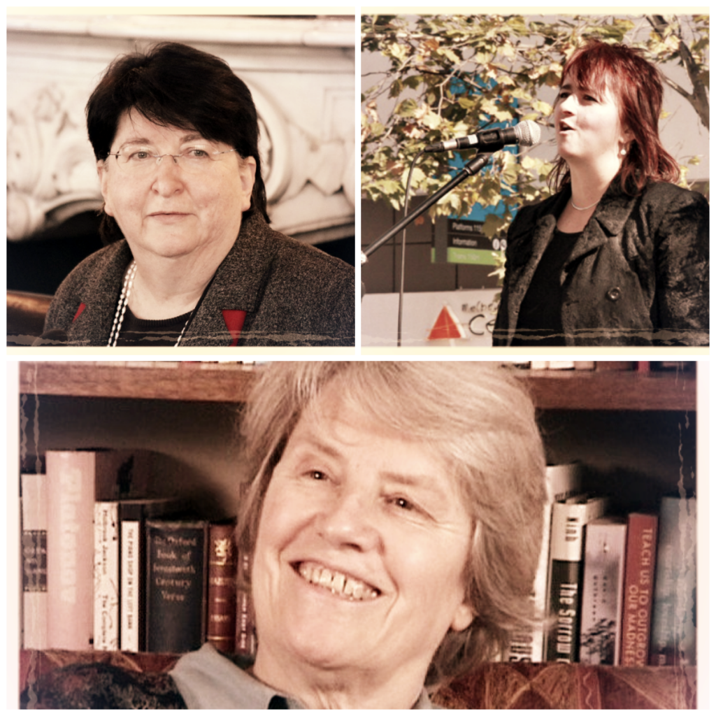 Clockwise from upper right: Carol Cohn, Felicity Hill, Sara Ruddick