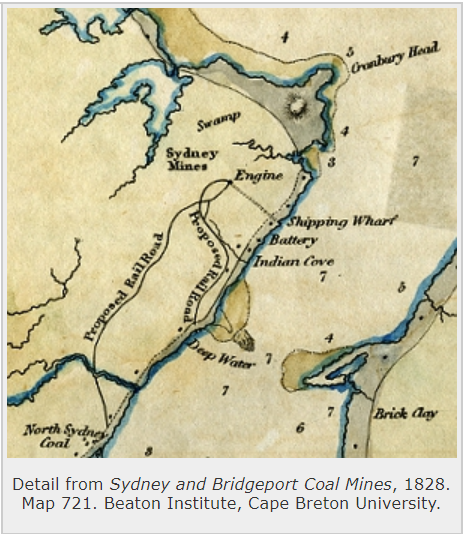 Detail from Sydney and Bridgeport Coal Mines, 1828. Map 721. (Beaton Institute, Cape Breton University https://beatoninstitute.com/)