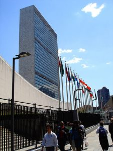 UN headquarters, NYC. (Photo by User:Theodoranian (by myself) [CC BY-SA 1.0 (https://creativecommons.org/licenses/by-sa/1.0) or CC BY-SA 2.5 (https://creativecommons.org/licenses/by-sa/2.5)], via Wikimedia Commons)
